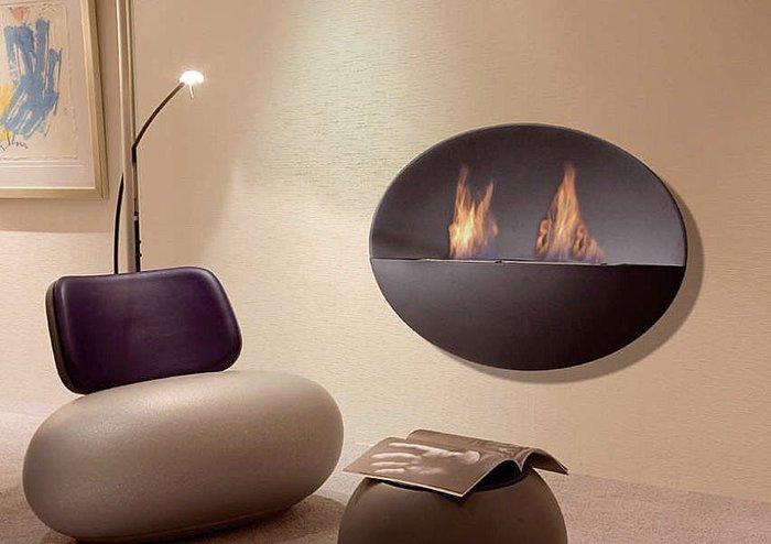 Bio fireplace prometheus mythological fire in modern for Camino a parete