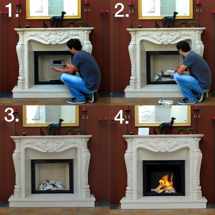 How to change a traditional fireplace into bio fireplace lovter - Bruleur cheminee ethanol ...